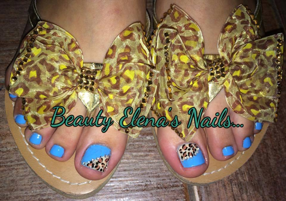Blue With Leopard Nail Art
