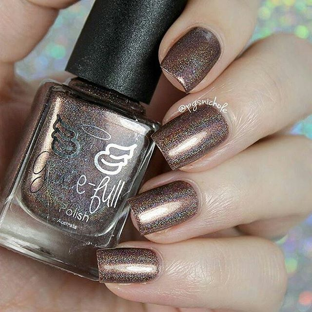 Brown Glitter Neutral Nails