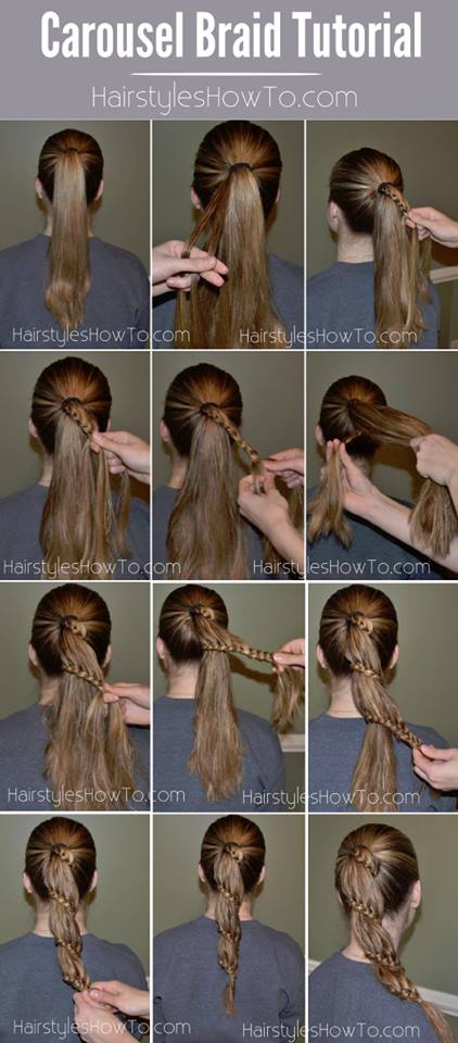 Carousel Braid Tutorial also know as a Lace Braid Ponytail.