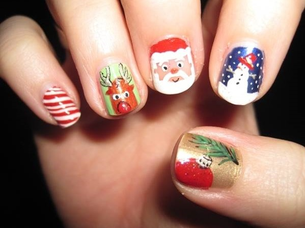74 adorable holiday nail designs to try this christmas christmas nail idea prinsesfo Images