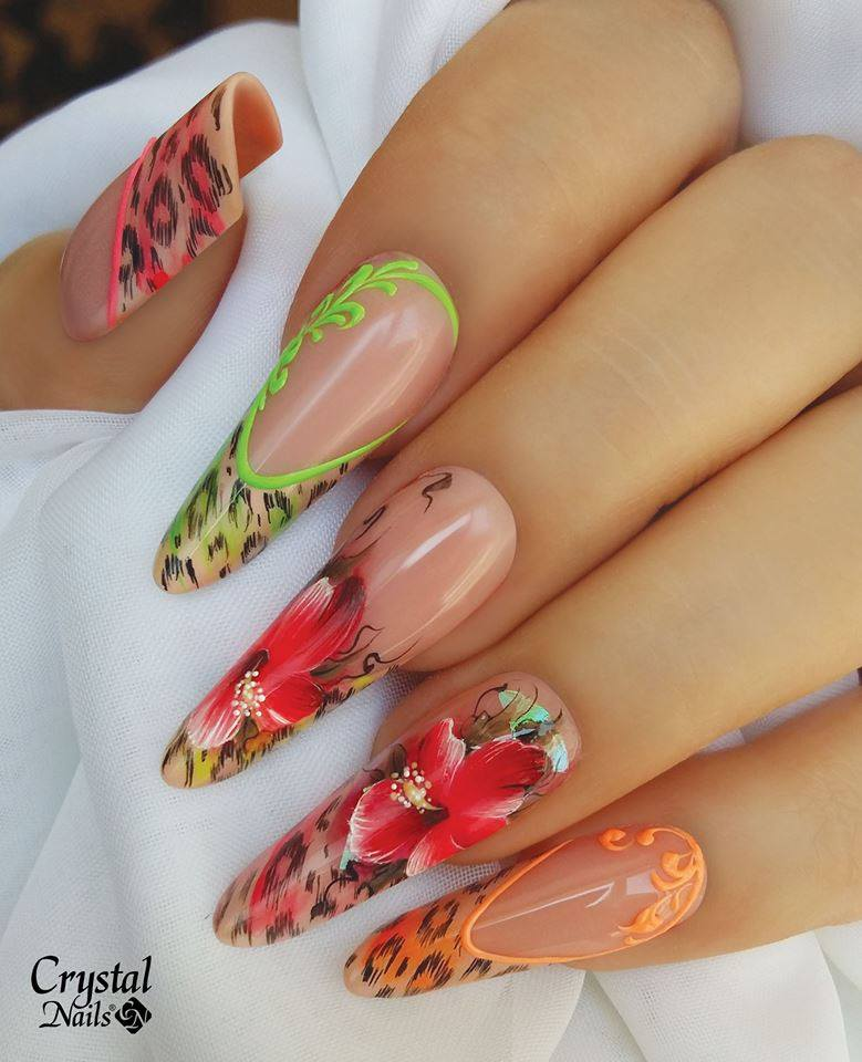 Colored Floral Nails