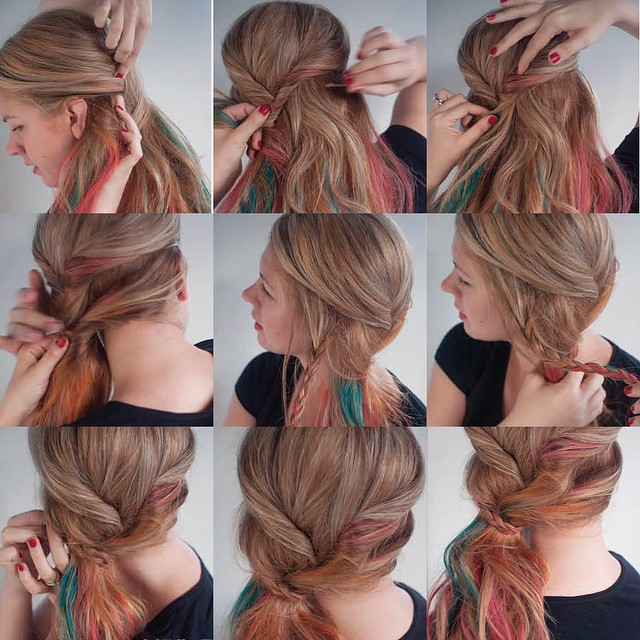 Colored Twisted Ponytail Tutorial
