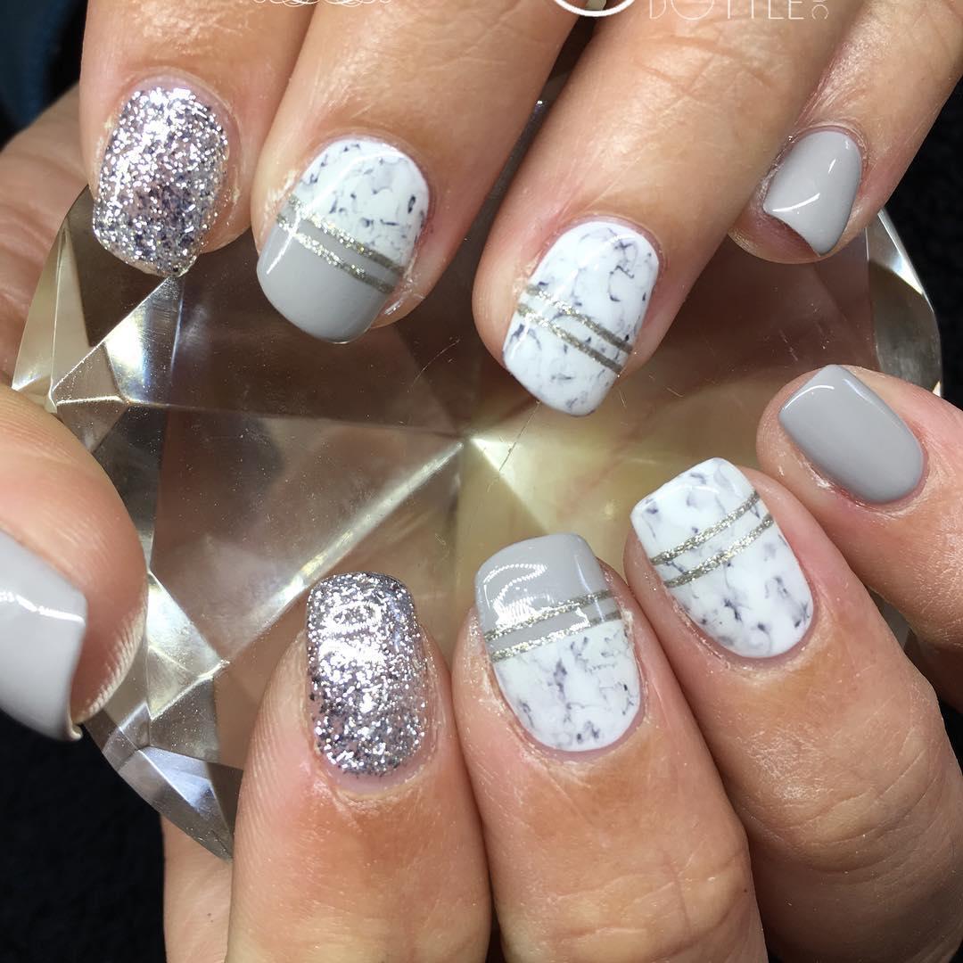 Grey Glitter Sharpie Nails