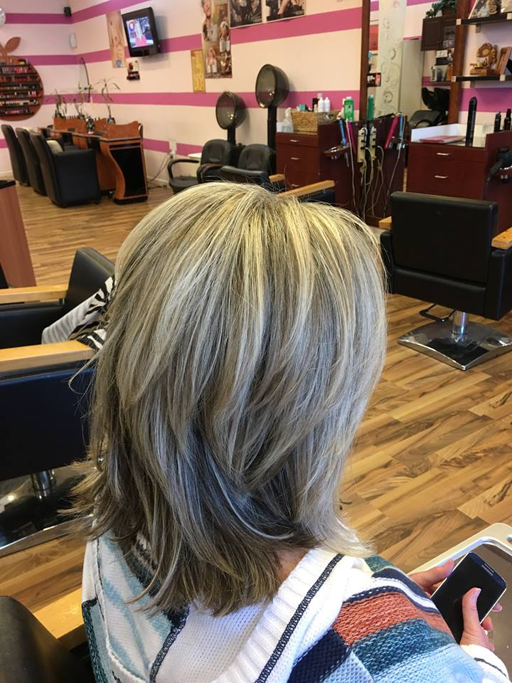 Grey Medium Length Hairstyle Blurmark
