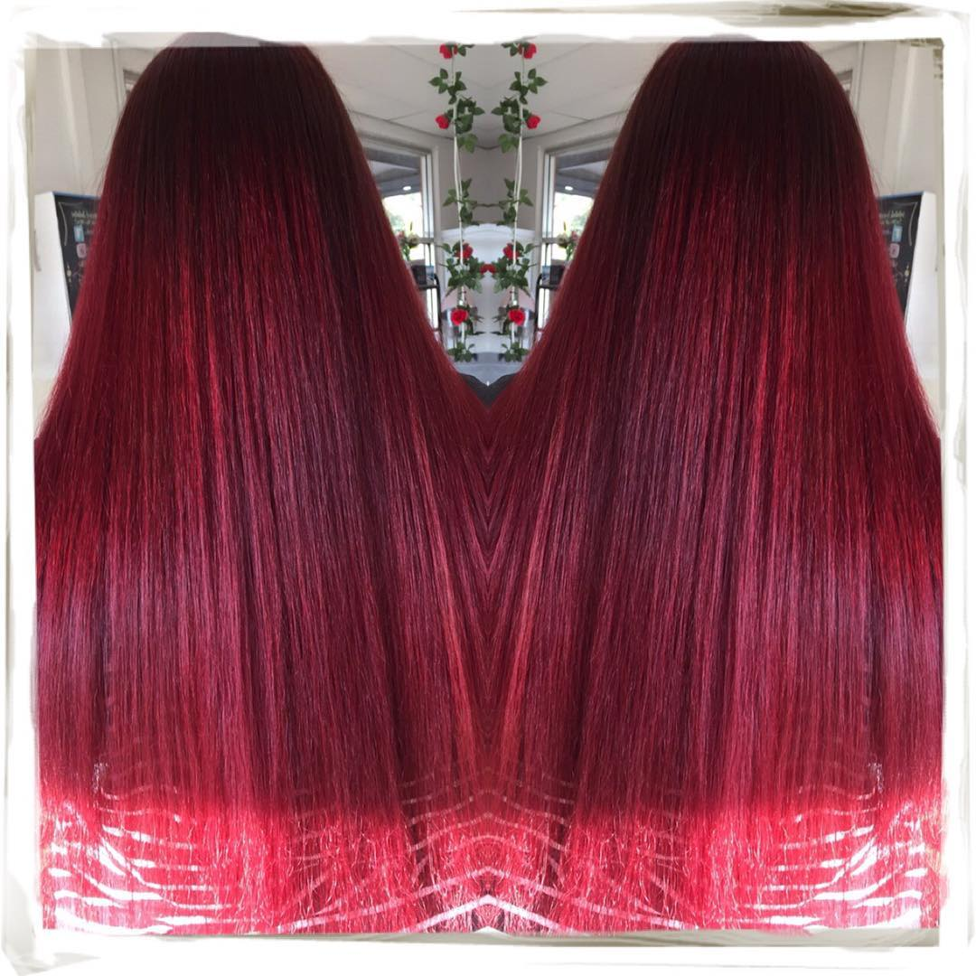 Long Beautiful Bright Red Hairs