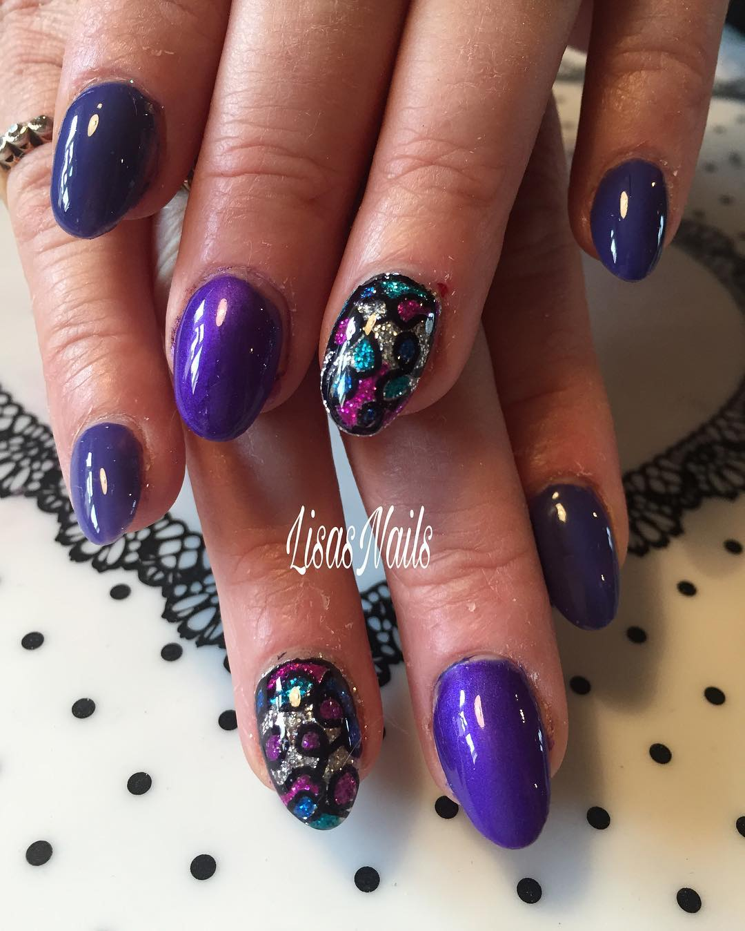 Lovely Purple Sharpie Nails