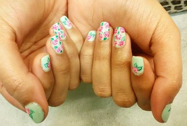 Mint and Floral Nails