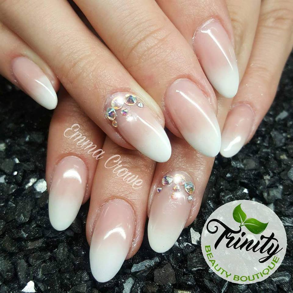 Natural Almond Nails With Stones - Blurmark