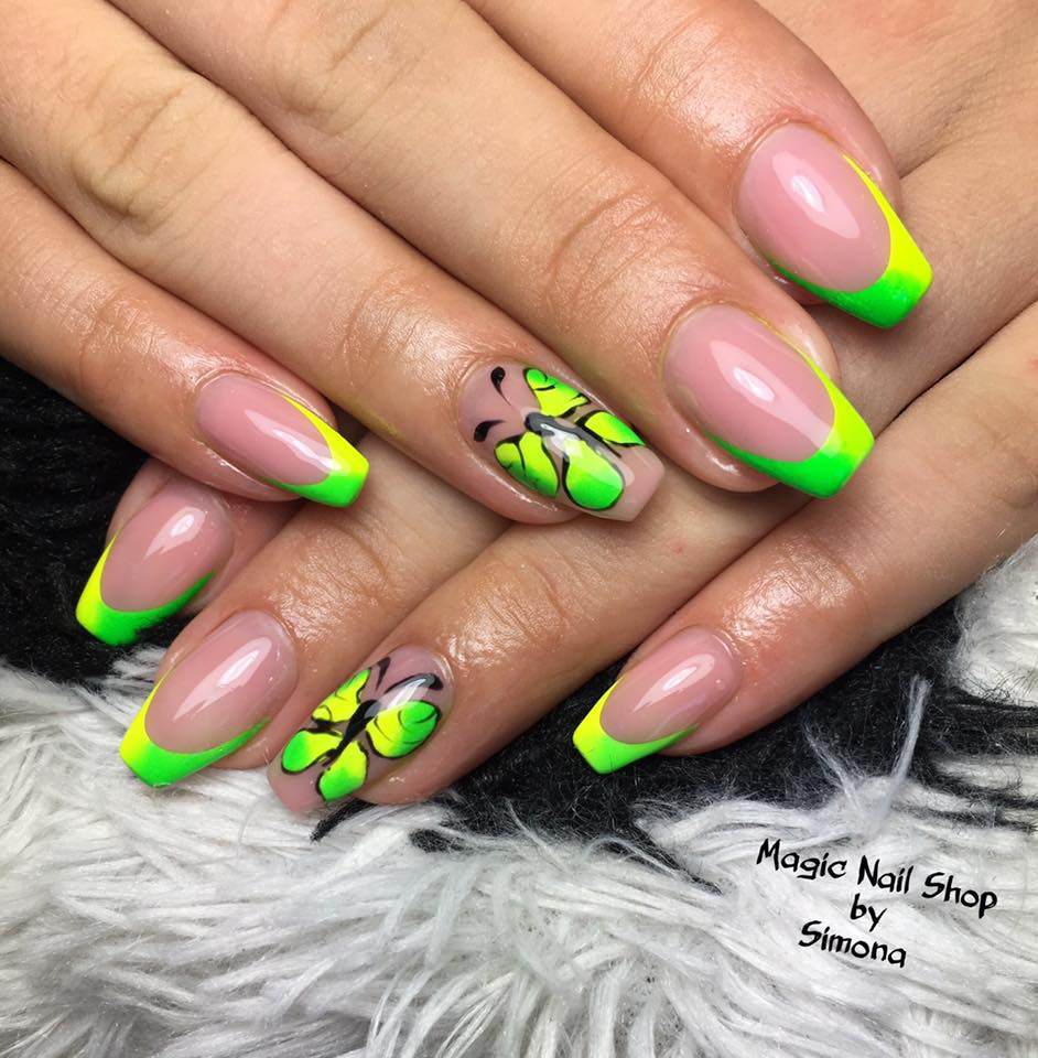 Neon Butterfly Nails