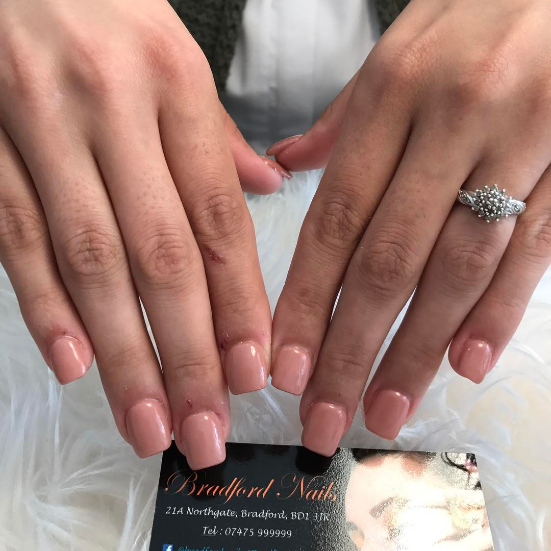 Nude Pink Square Nails
