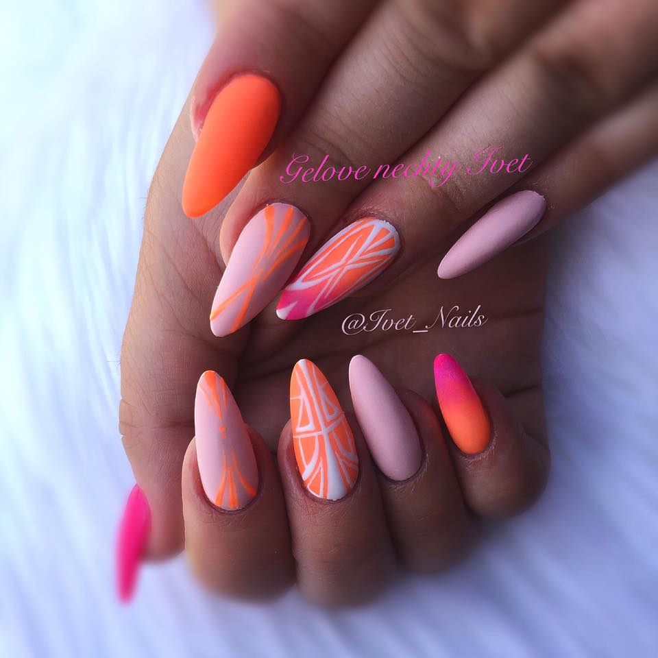 Onbre Neon Nails