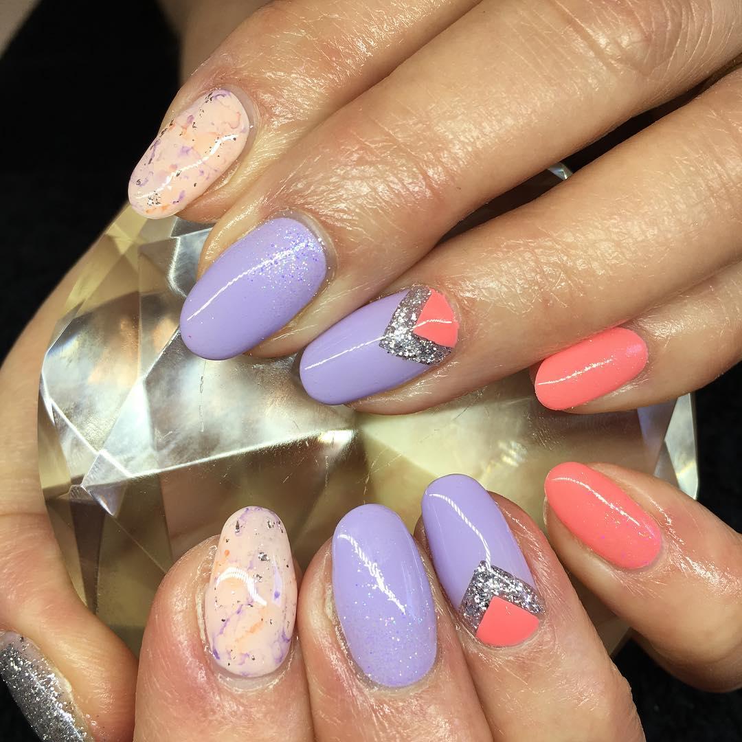 Orange & Purple Negative Space sharpie Nails