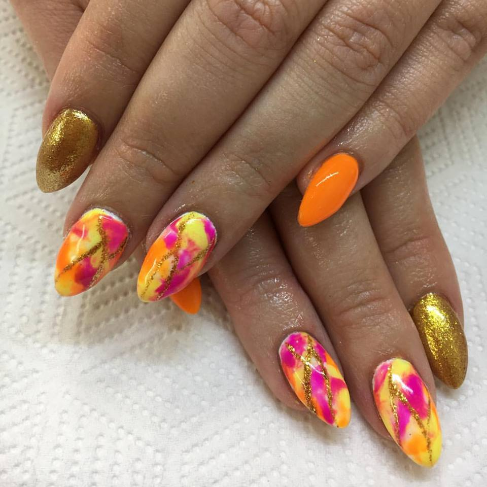 Orange With Gold Glitter
