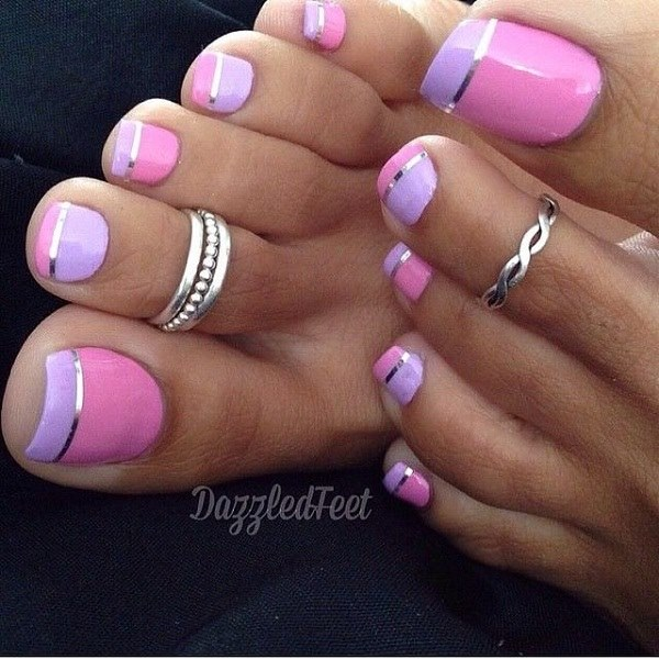 Pink And Purple Stripes Toes Nail Art