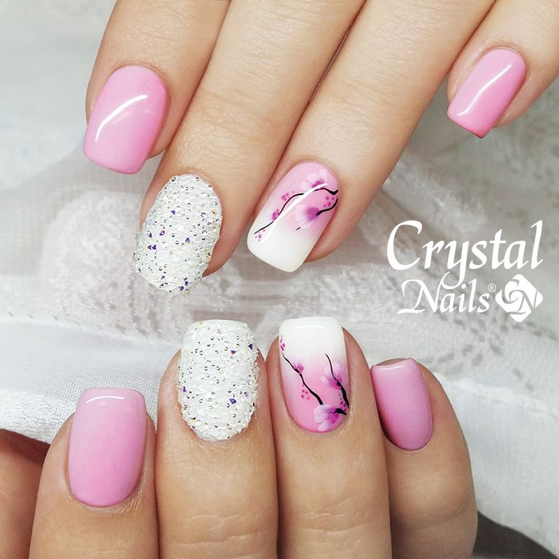 Pink And White Crystal Nails