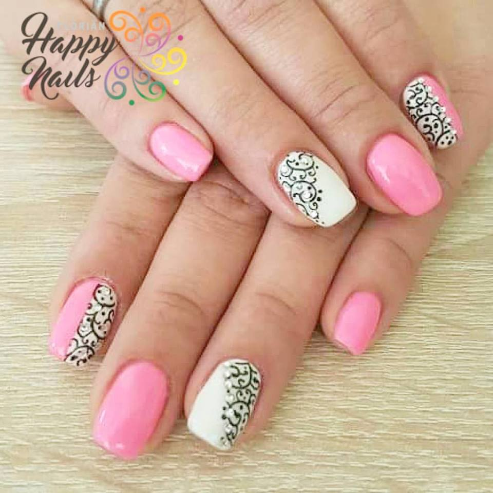 Pink And White Designer Nails