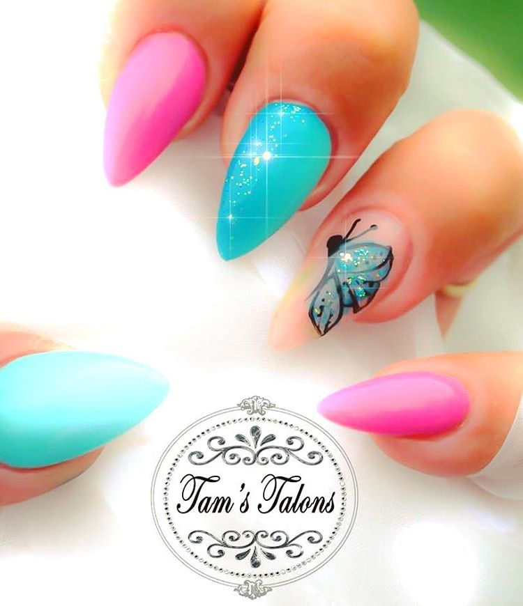 Pink & Blue Butterfly Sharpie Nails