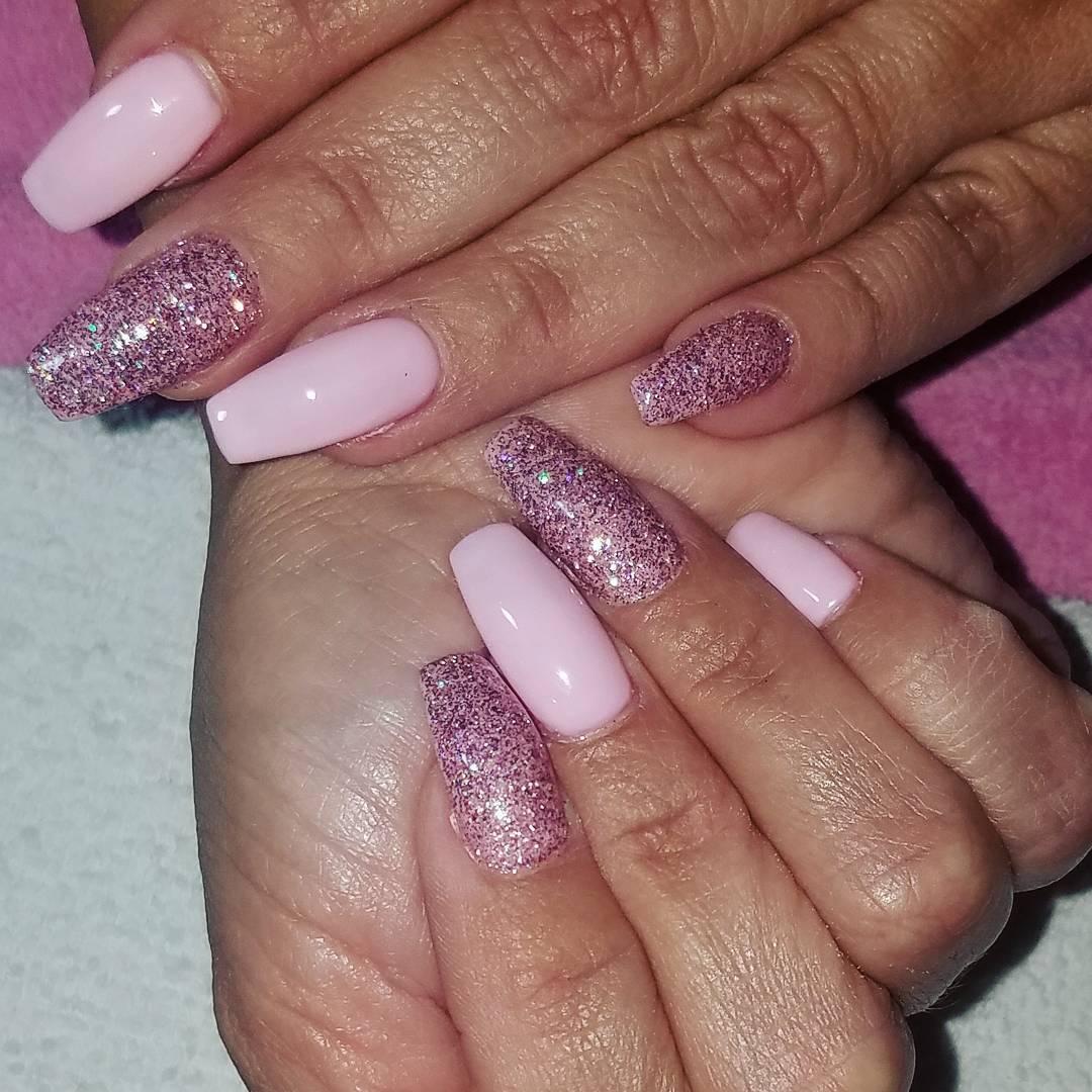 Pink Glitter Acrylic Nails