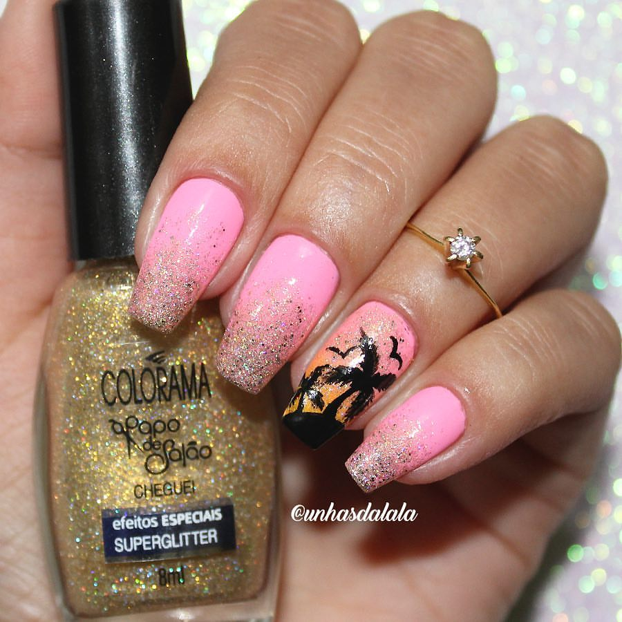 Pink Plam Tree Nails