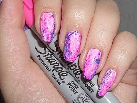 Pink Sharpie Nail Design
