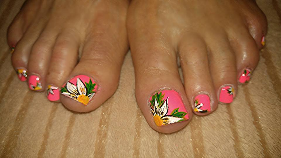 Pink Sunflower Toes Nails
