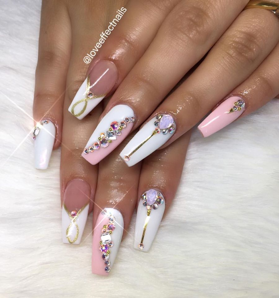Pink & White Nails With Crystal - Blurmark