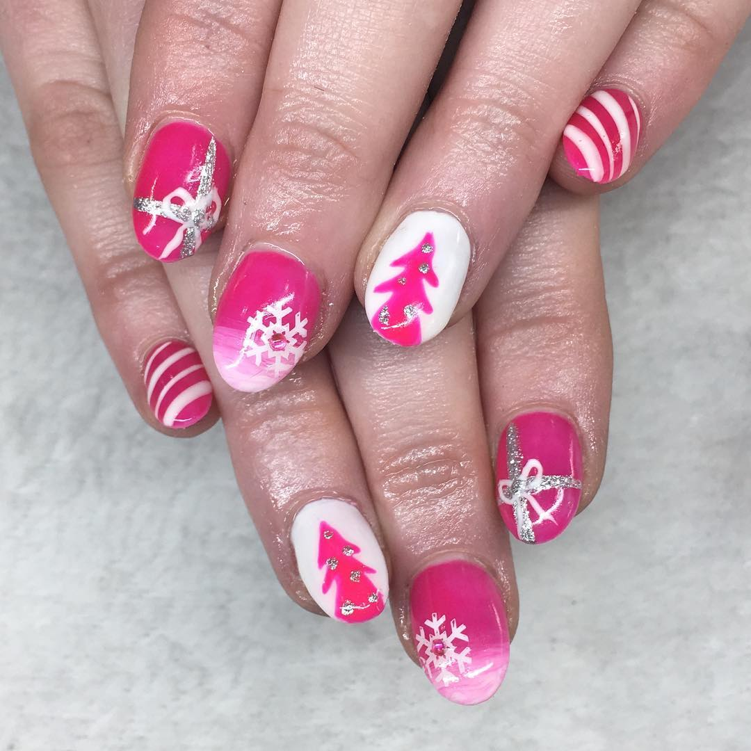 pink and white christmas nails pic by beauty_by_joan - White Christmas Nails