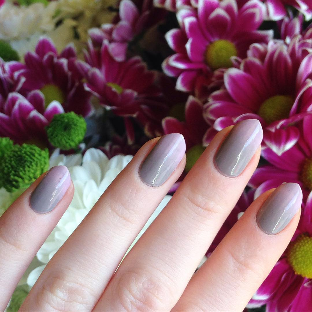 Purple Grey Neutral Nails