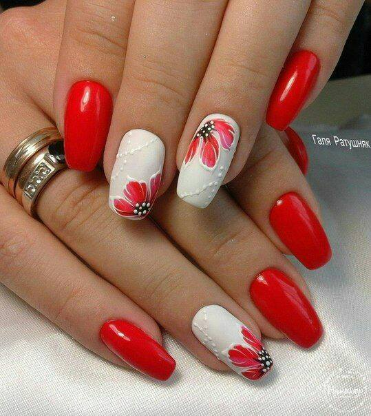 Red And White Floral Nails