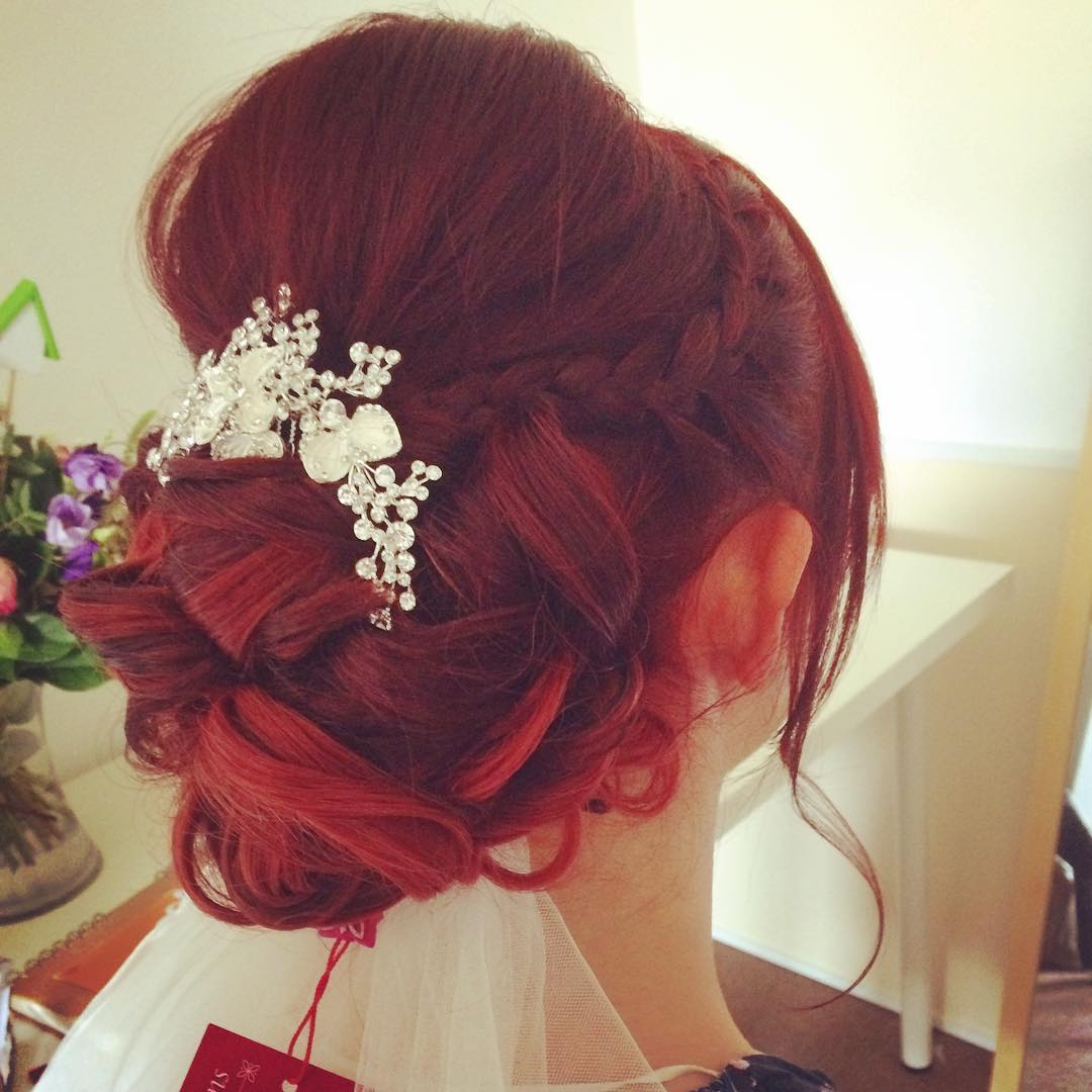 Red Curl Bridal Hairs