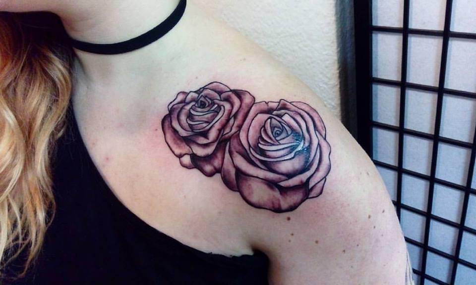 Red Roses On Shoulder