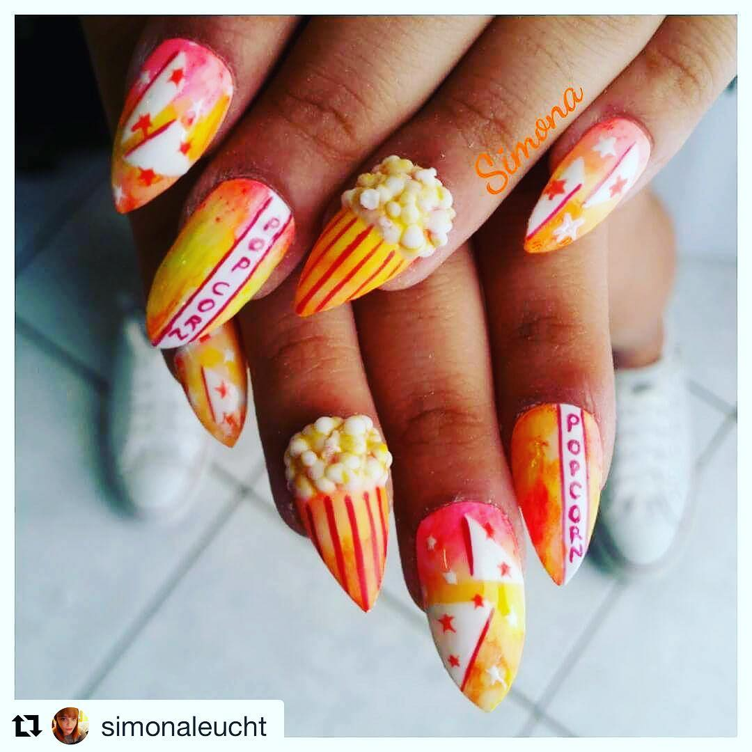Red & Yellow Popcorn Sharpie Nails