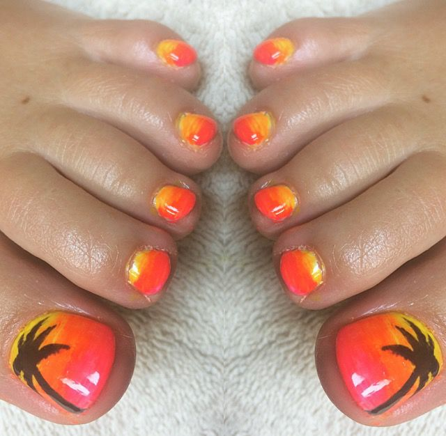Red and Yellow Palm Tree Nails