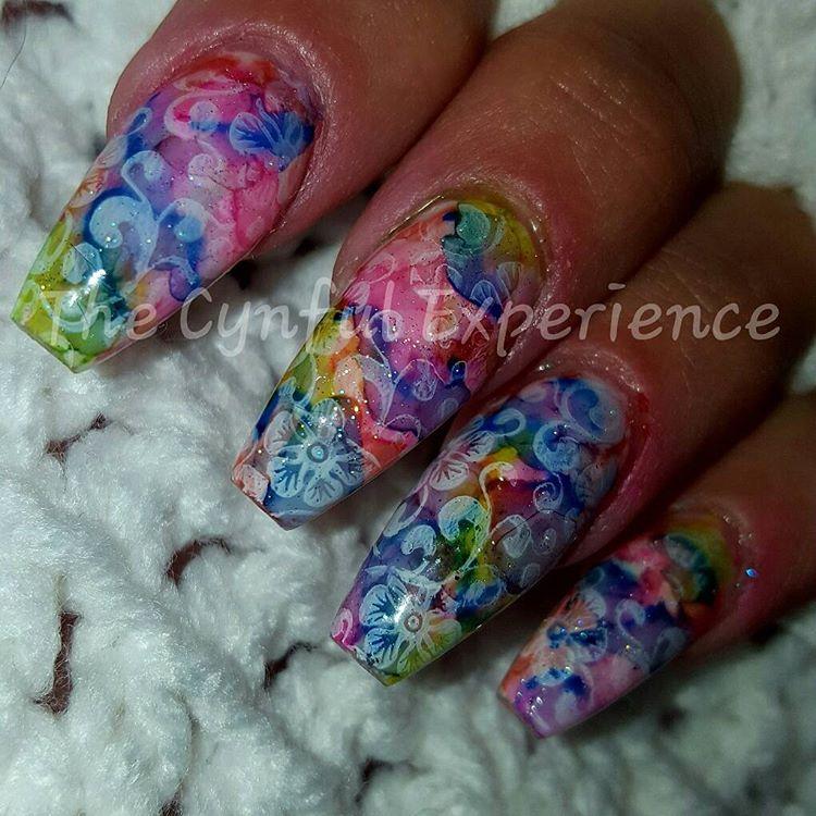 Stamping Neon Nail Art