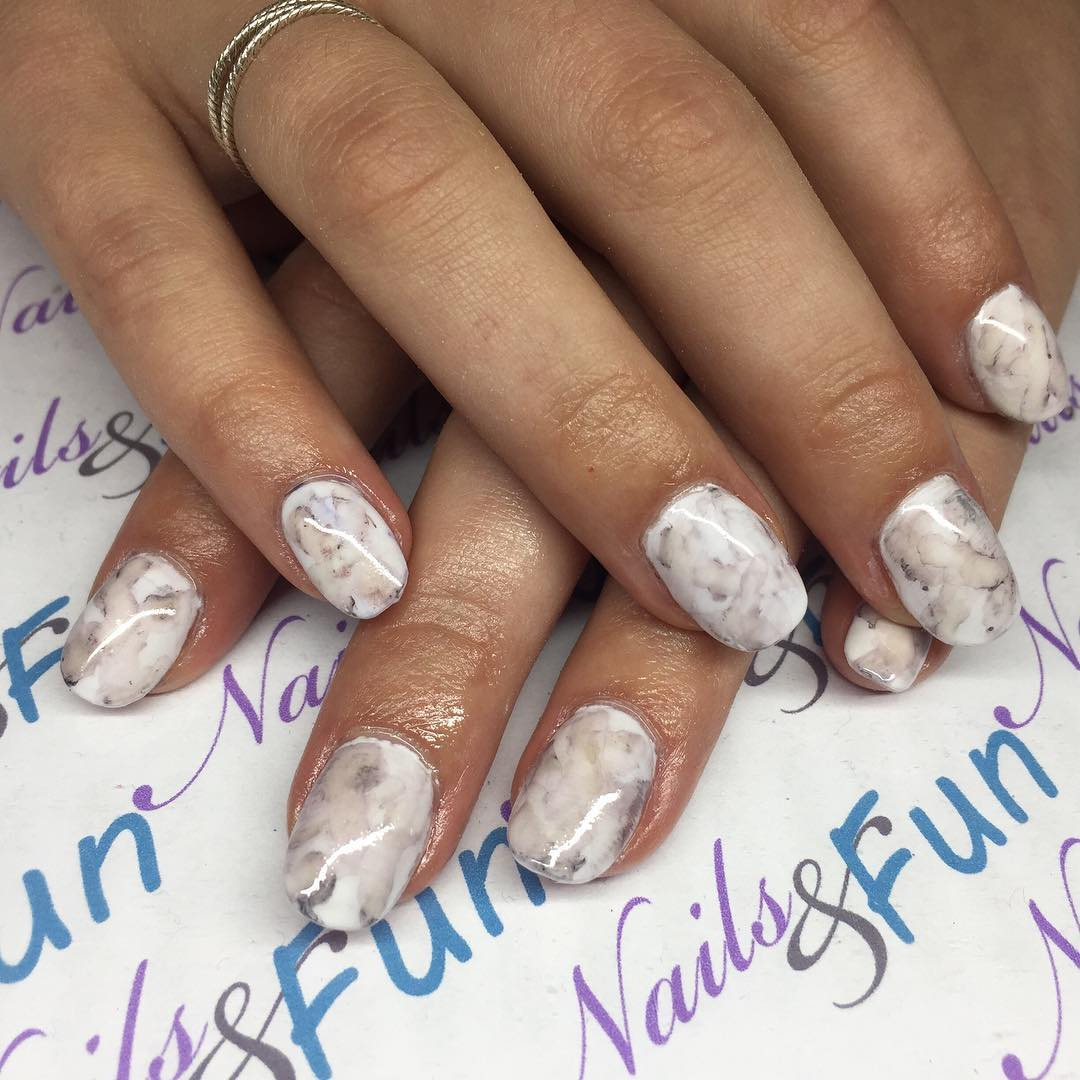 White Marble Acrylic Sharpie Nails