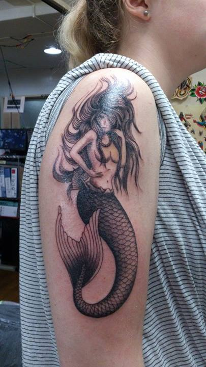 Amazign Black & Grey Mermaid Tattoo