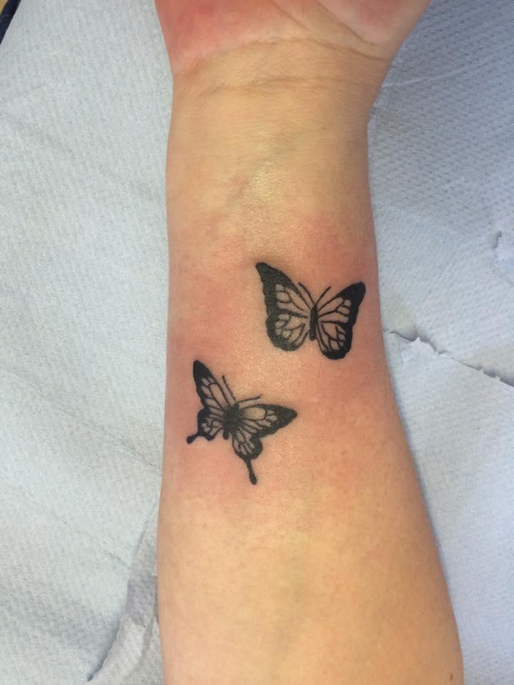 Butterfly tattoos on wrist