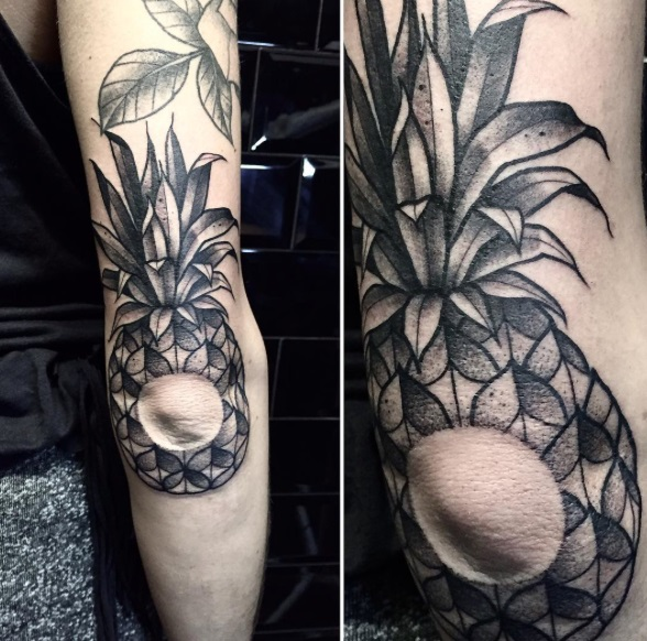 Amazing Elbow Pineapple Tattoo