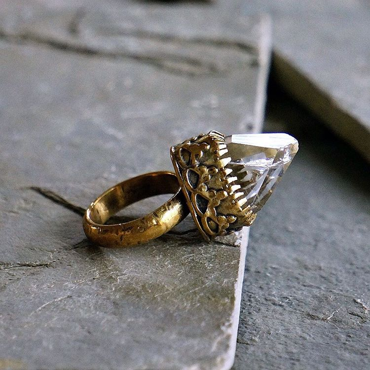 Antique Gold Crown Bronze and Natural Clear Quartz Ring