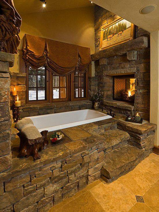 Awesome Rustic Bathroom With Fire Pit