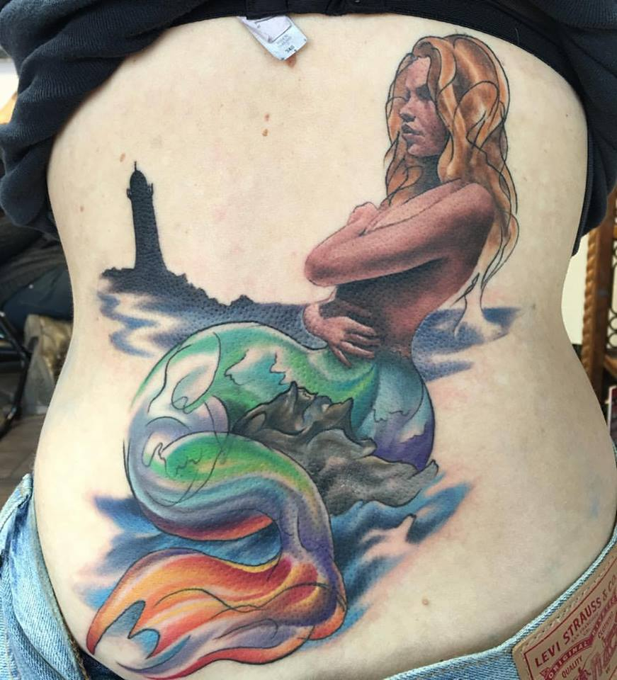 Back Piece Mermaid Tattoo