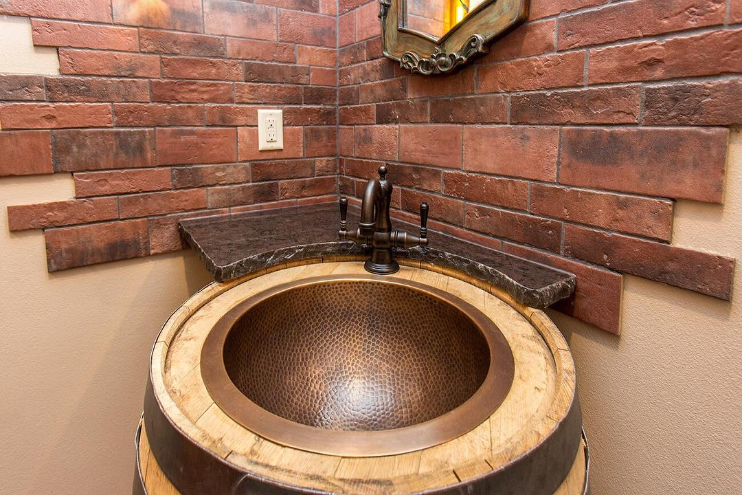 Barrel Copper Sink With Accent Wall