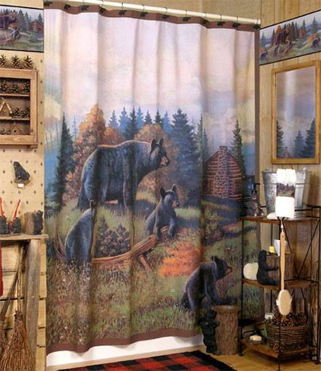 Bear Curtain With Wooden Accessory