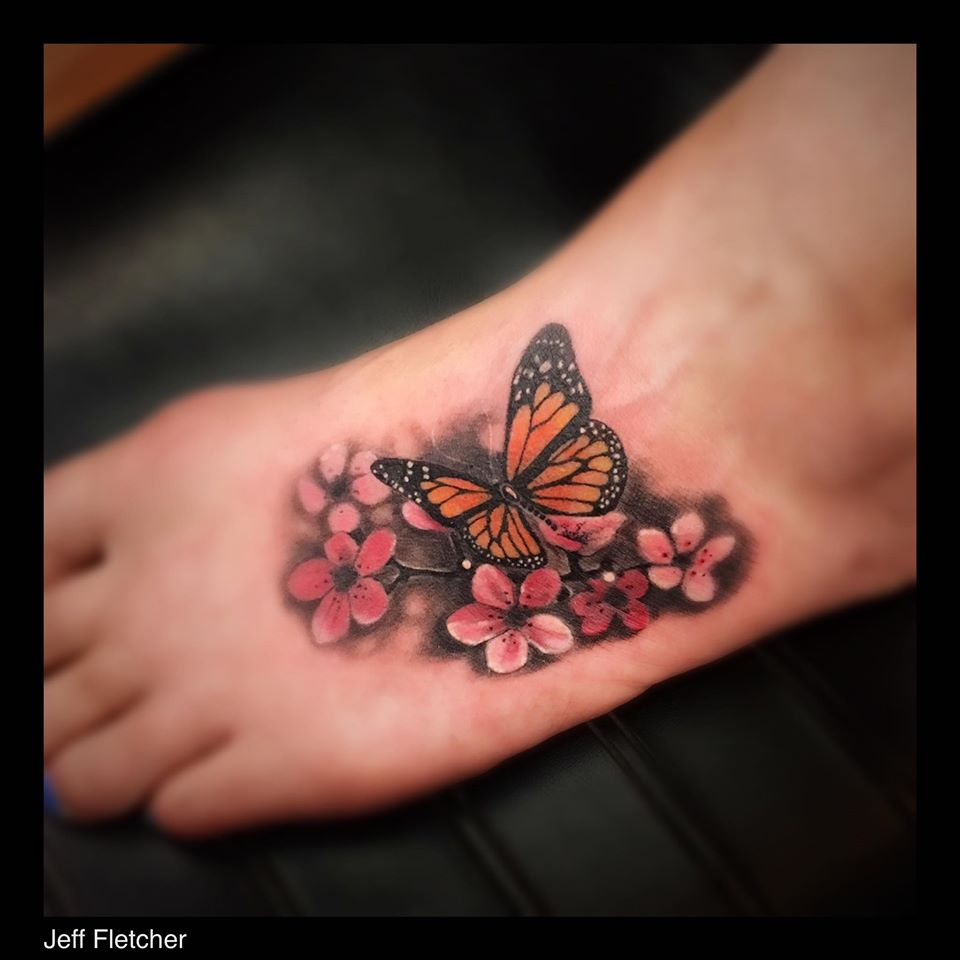 Beautiful Butterfly With Flowers
