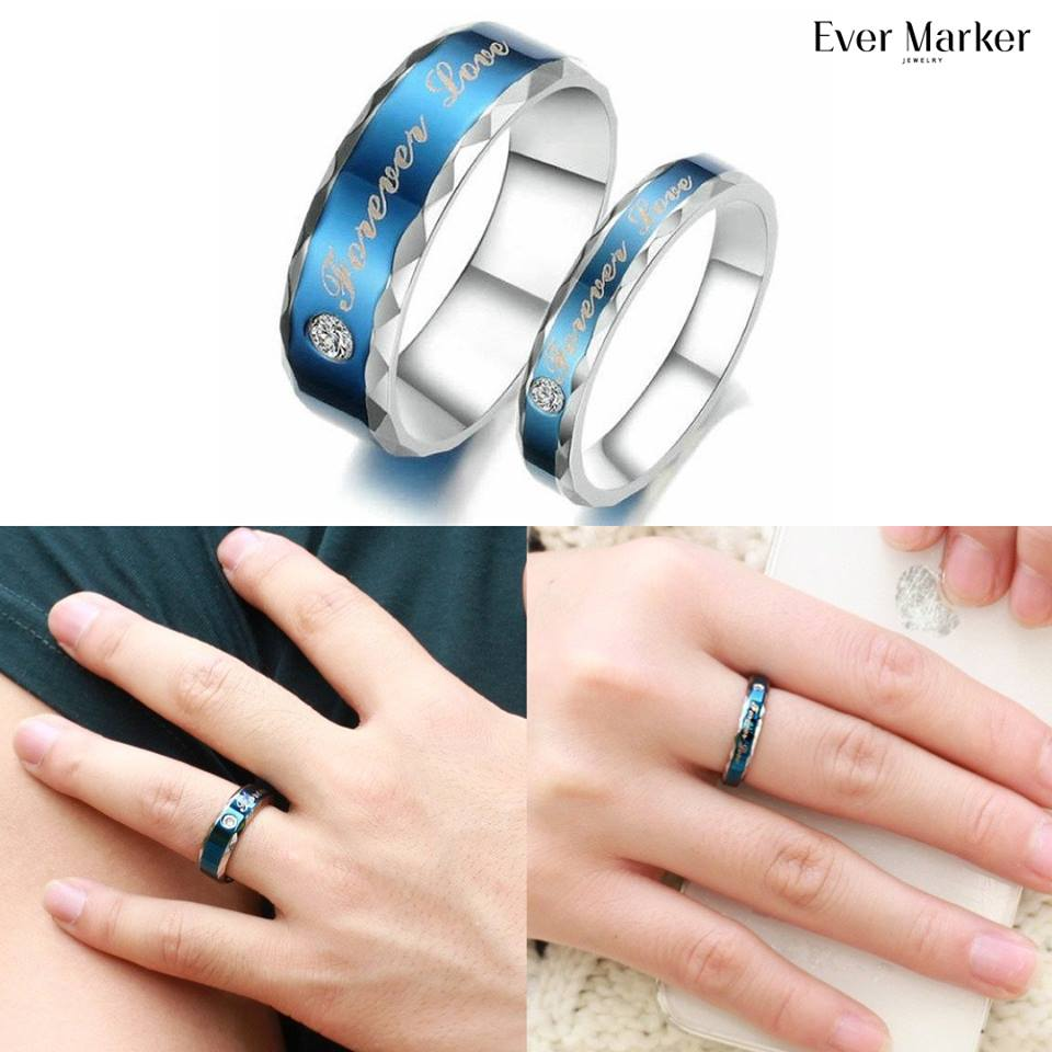adorably for evermarker stainless engagement couples couple fianc steel s stunning you rings and beautiful wedding fiance your