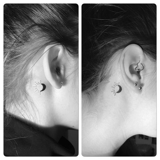 Best Black Moon And Sun Tattoo Behind The Ear