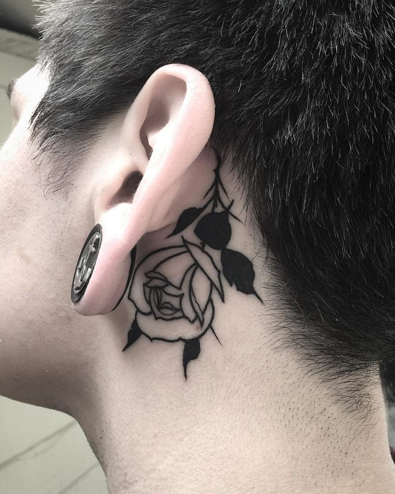 Black Clawn Needle Rose Tattoo