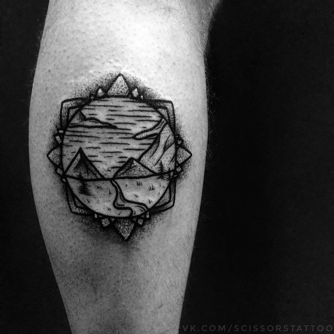 Black Line Work Tattoo On Elbow