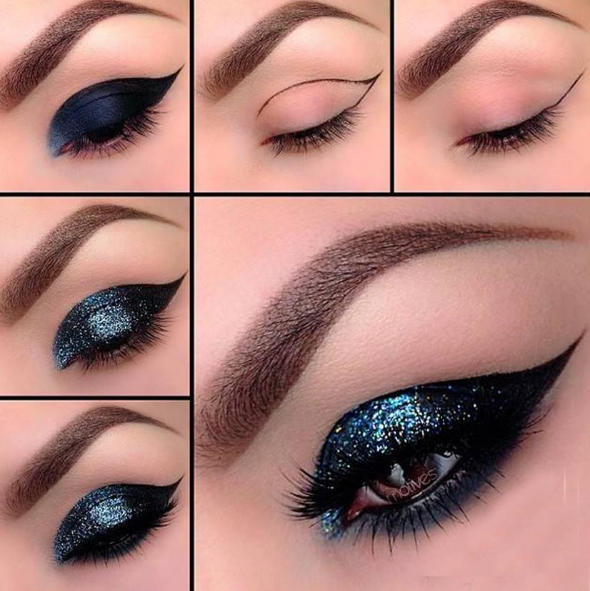 Blue Glittery Cat Eyes Tutorial