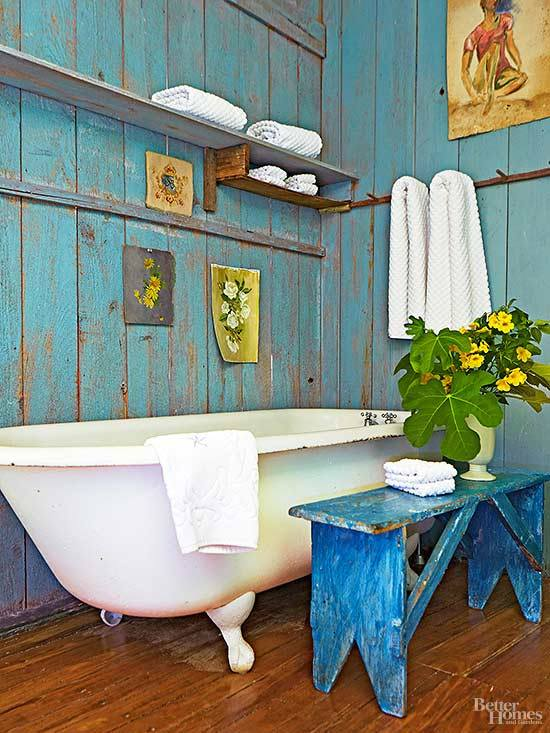 Blue Rustic Wall With Banch